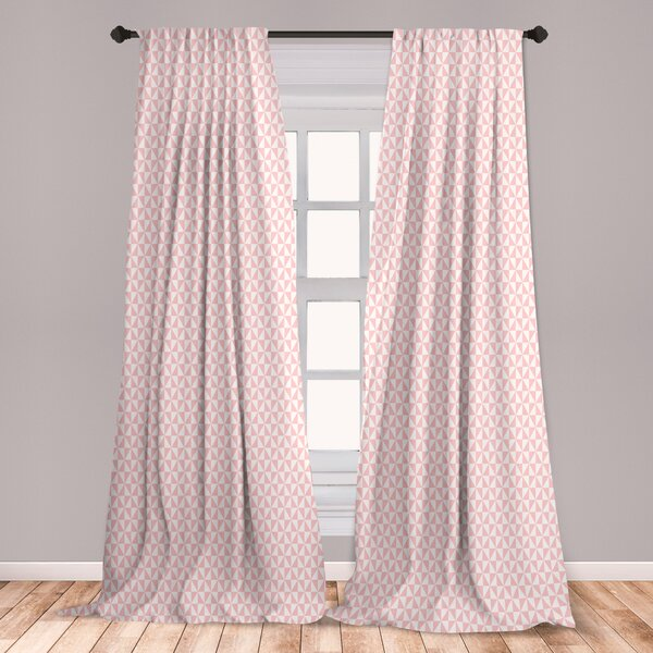 East Urban Home Ambesonne Pale Pink Curtains, Bicolor Triangles .