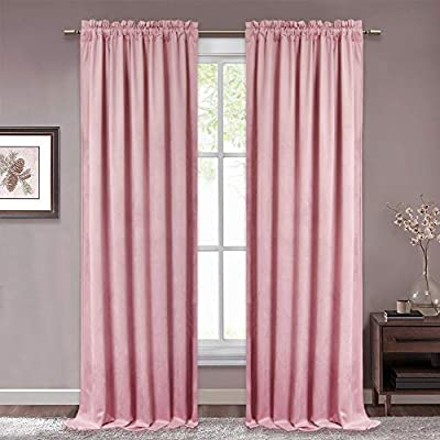 Amazon.com: RYB HOME Pink Velvet Curtains - Soft Rod Pocket Window .
