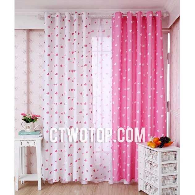 White And Pink Heart Patterned Dreamy Princess Nursery Kids Curtai