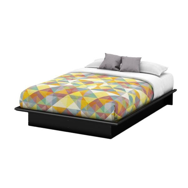South Shore Step One Queen-Size Platform Bed in Pure Black 3070233 .