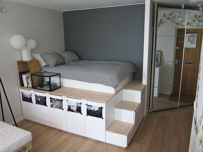 Storage / Platform Bed | Diy platform bed, Platform bed with .