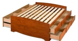 Prepac Captain's Cherry Queen Platform Bed with Storage at Lowes.c