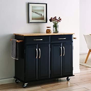 Amazon.com - BELLEZE Portable Kitchen Island Cart w/Wood Top, 2 .