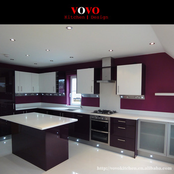 Pre Assembled Kitchen Cabinets In High Gloss Dark Purple Color .