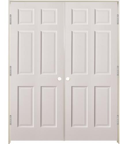 Mastercraft® Primed Woodgrain Raised 6-Panel Interior Double Door .