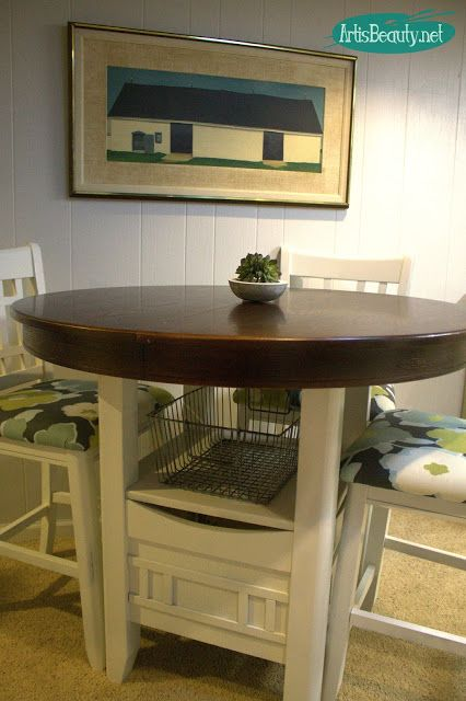 Fixer Upper style Painted Pub Table Makeover | Pub table, chairs .