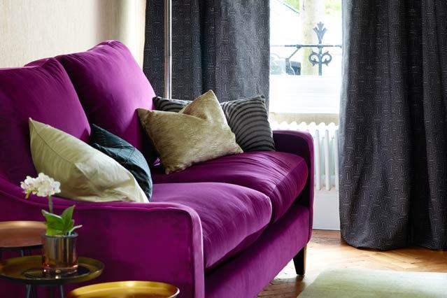 Modern Minimalist Purple Sofas Artistic Cushion Decor under Small .