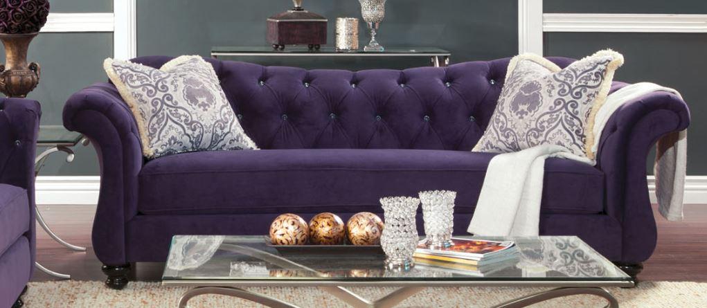 FOA Furniture Of America Antoinette Purple Sofa Dallas TX | Living .