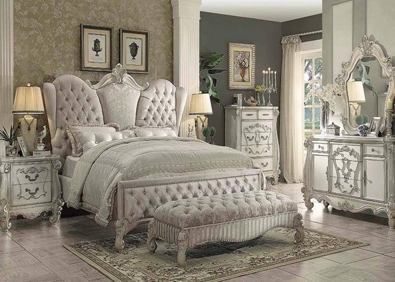 Acme Versailles Wingback 4-7pc Cal King or Queen Bedroom Set .