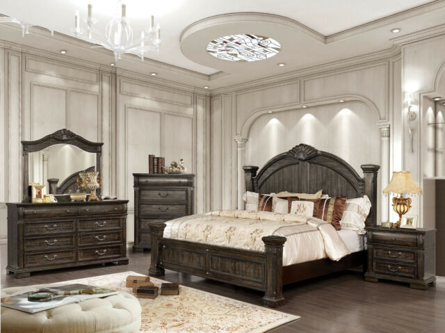 Elegant Style Walnut Finish Carve Queen Size 4pc Master Bedroom .