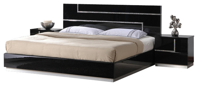 J&M Lucca Black Lacquer With Cystal Accents Queen Size Bedroom Set .