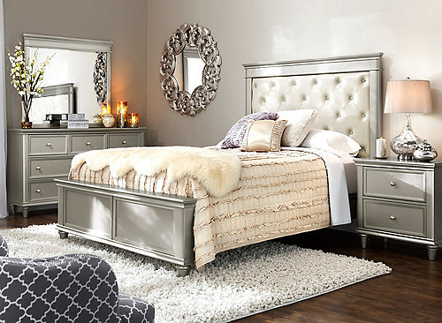 Tiffany 4-pc. Queen Bedroom Set - Cream / Silver | Raymour & Flanig