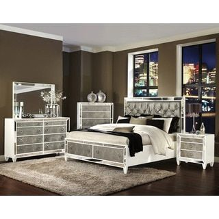 Celine 5-piece Mirrored and Upholstered Tufted Queen-size Bedroom .