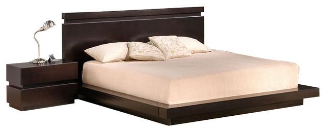 J&M Knotch Dark Brown Veneer Stacked Block Queen Size Bedroom Set .