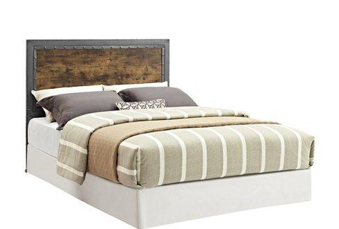 Queen Size Industrial Wood And Metal Panel Headboard Brown .