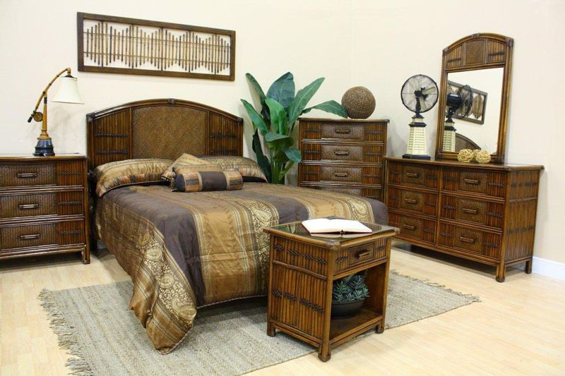 Polynesian Wicker Bedroom Suite by Hospitality Rattan | Mirrored .