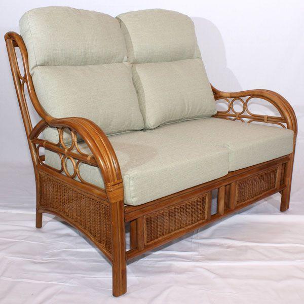 Quartz Brown Cane Rattan Conservatory Sofa 2 Seater Luxury .