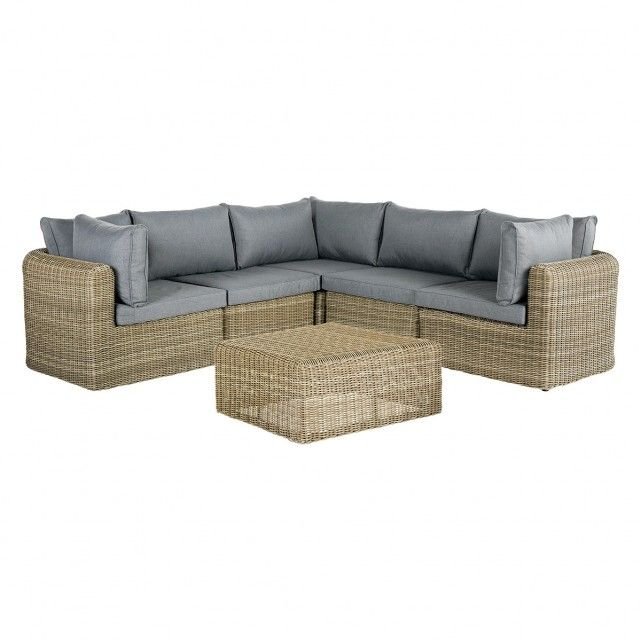 SIMIEN Synthetic rattan modular sofa set with ottoman | Corner .