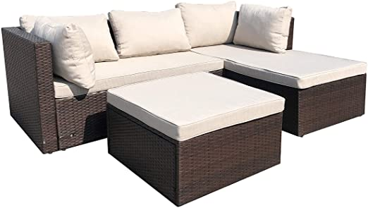 Amazon.com: AmazonBasics 3 Piece Patio PE Wicker Rattan Corner .