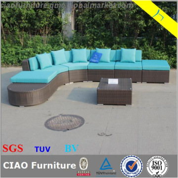 CF1537, China house garden big aluminum PE rattan corner sofa .