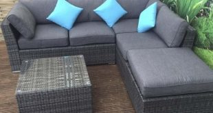 Minnie Rattan Corner Sofa with Footstool and Coffee Table in Ratt