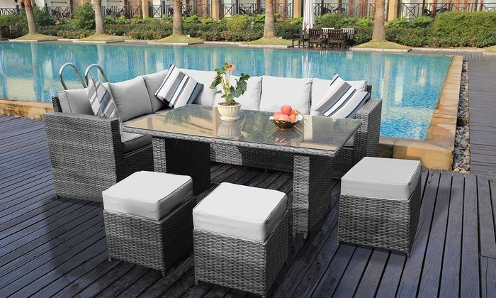 Groupon Goods Global GmbH: Yakoe Barcelona Rattan-Effect Furniture .
