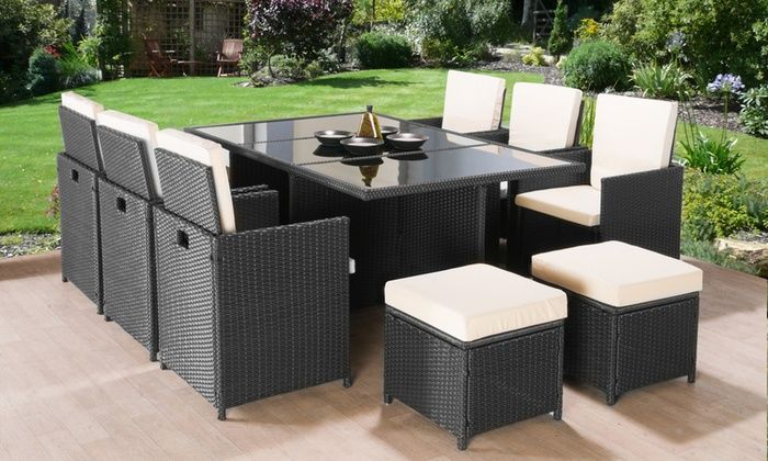 Groupon Goods Global GmbH: 9- or 11-Piece Poly-Rattan Garden .