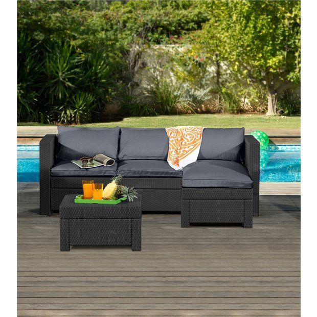 Buy Keter Rattan Effect Outdoor Mini Corner Sofa - Graphite at .