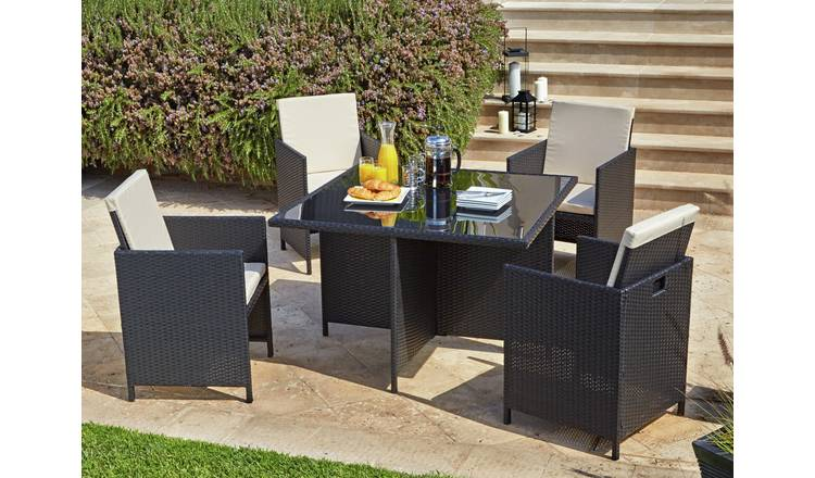 Buy Argos Home Cube 4 Seater Rattan Effect Patio Set - Black .