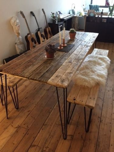 Reclaimed Wood Dining Table and x2 Benches with by palletMONKEY .