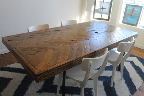 Herringbone Reclaimed Wood Dining Table Made to Order | Et
