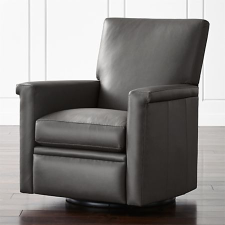 Declan Leather 360 Swivel Recliner + Reviews | Crate and Barr