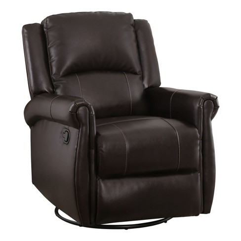 Elena Leather Swivel Glider Recliner Brown - Abbyson Living : Targ