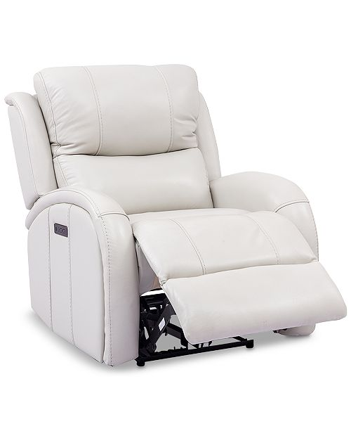 Furniture Leiston Leather Dual Power Recliner with USB Power .