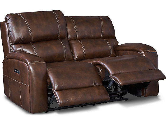 Drake Brown Dual Power Reclining Leather Loveseat | Art V
