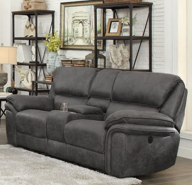 Hadden Gray Double Reclining Loveseat with Center Console .
