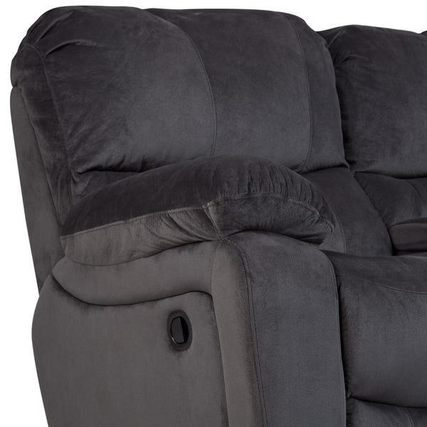 Shop Handmade Ramsey Gray Plush Microfiber Dual Reclining Loveseat .