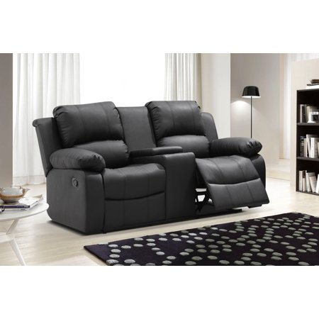 UFE Zoey Bonded Leather Reclining Loveseat with Center Console .
