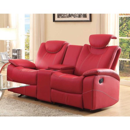 Glider Recliner Loveseat With Adjustable Headrest And Center .
