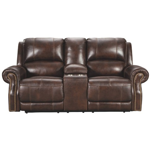 Buncrana Power Reclining Loveseat With Console/Adjustable Headrest .
