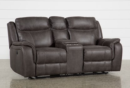 Griffin Grey Power Reclining Loveseat With Console | Living Spac