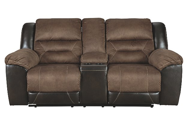 Earhart Reclining Loveseat with Console | Ashley Furniture HomeSto