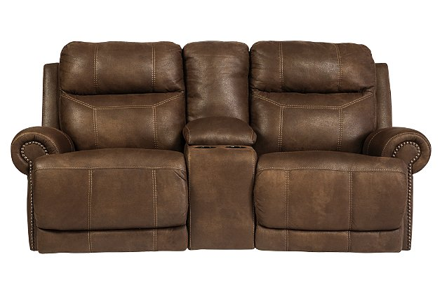 Austere Reclining Loveseat with Console | Ashley Furniture HomeSto