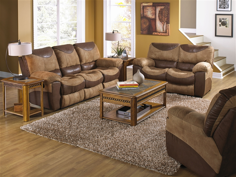 Portman 2 Piece POWER Reclining Sofa, Loveseat Set in Two Tone .