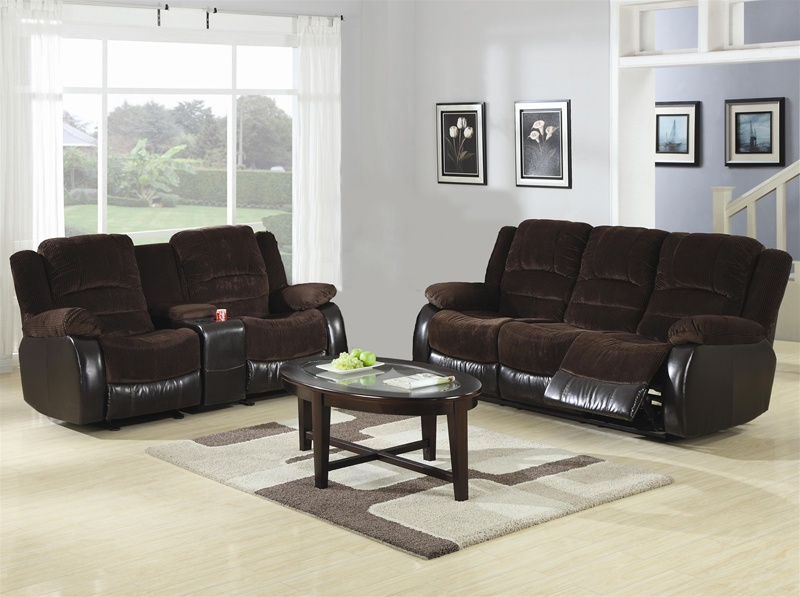 Johanna Chocolate Corduroy 2 Piece Reclining Sofa, Loveseat Set .