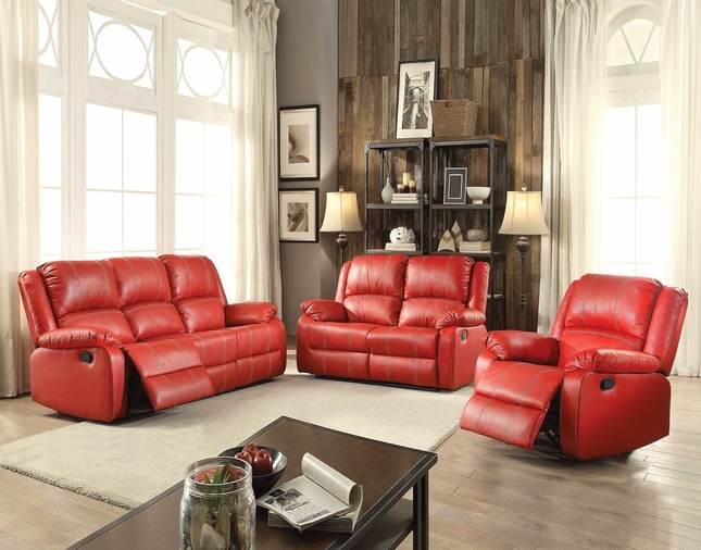 Zimra Contemporary Reclining Sofa & Loveseat Set in Red Faux Leath