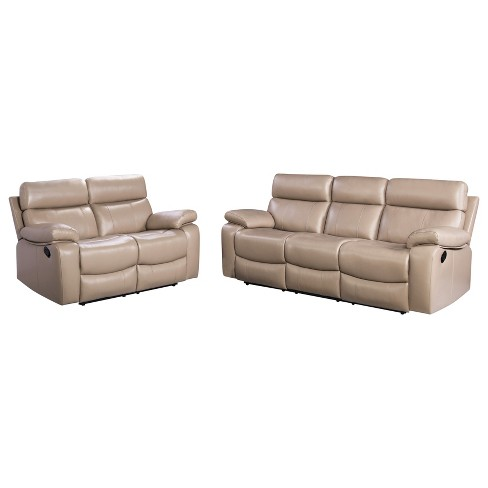 2pc Cameron Leather Reclining Sofa & Loveseat Set Beige - Abbyson .