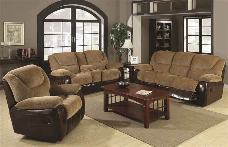Malena 2 Piece Reclining Sofa Loveseat Set in Two Tone .