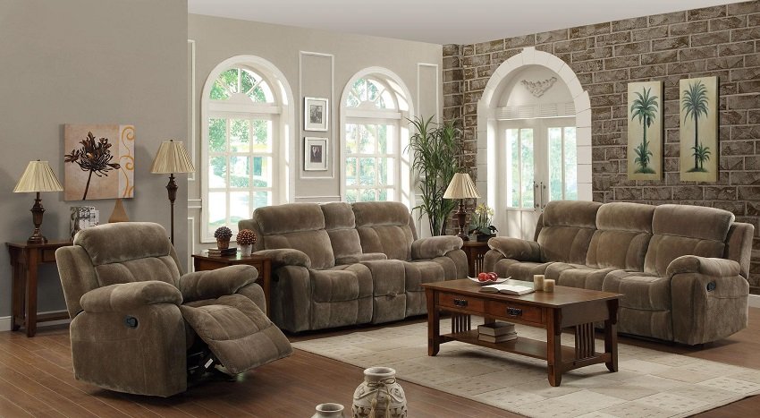 Velvet Reclining Sofa & Loveseat Cerritos, Reclining Sofa and .
