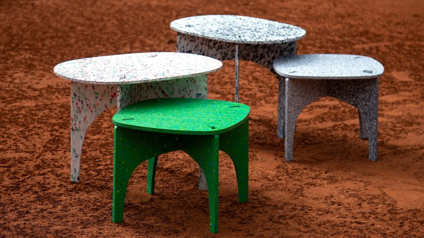 Luken flat-pack furniture is made from recycled plastic bottles in .